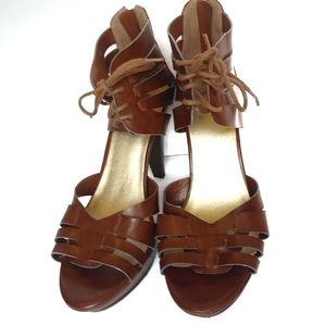 Guess Caged Lace Up Stacked Heel High Pumps Size 8